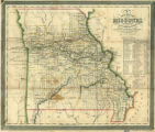 New map of Missouri showing the township surveys, location of cities, towns & villages, with roads and distances
