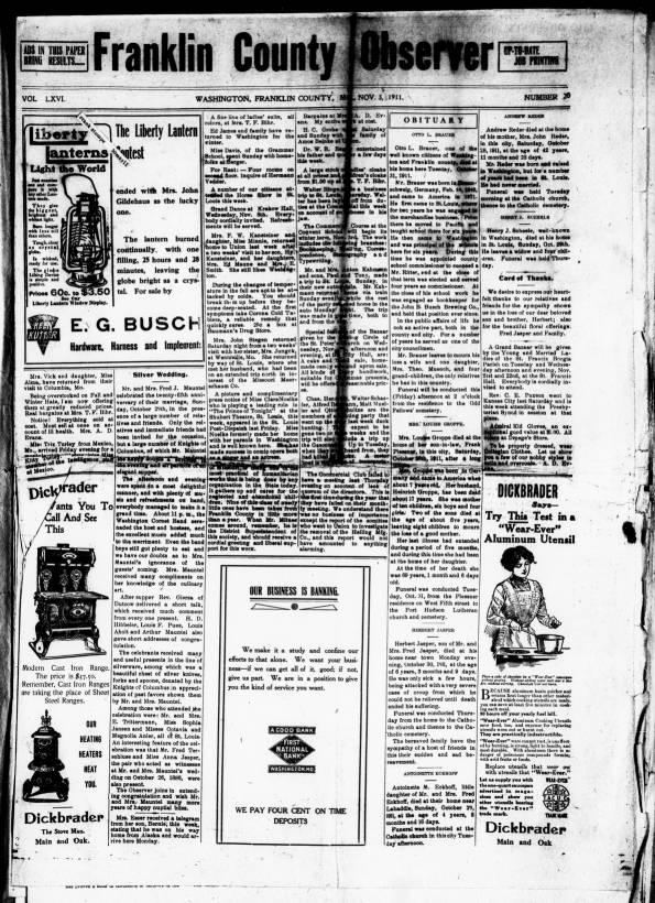 The Franklin County observer  (Washington, Mo ), 1911-11-03